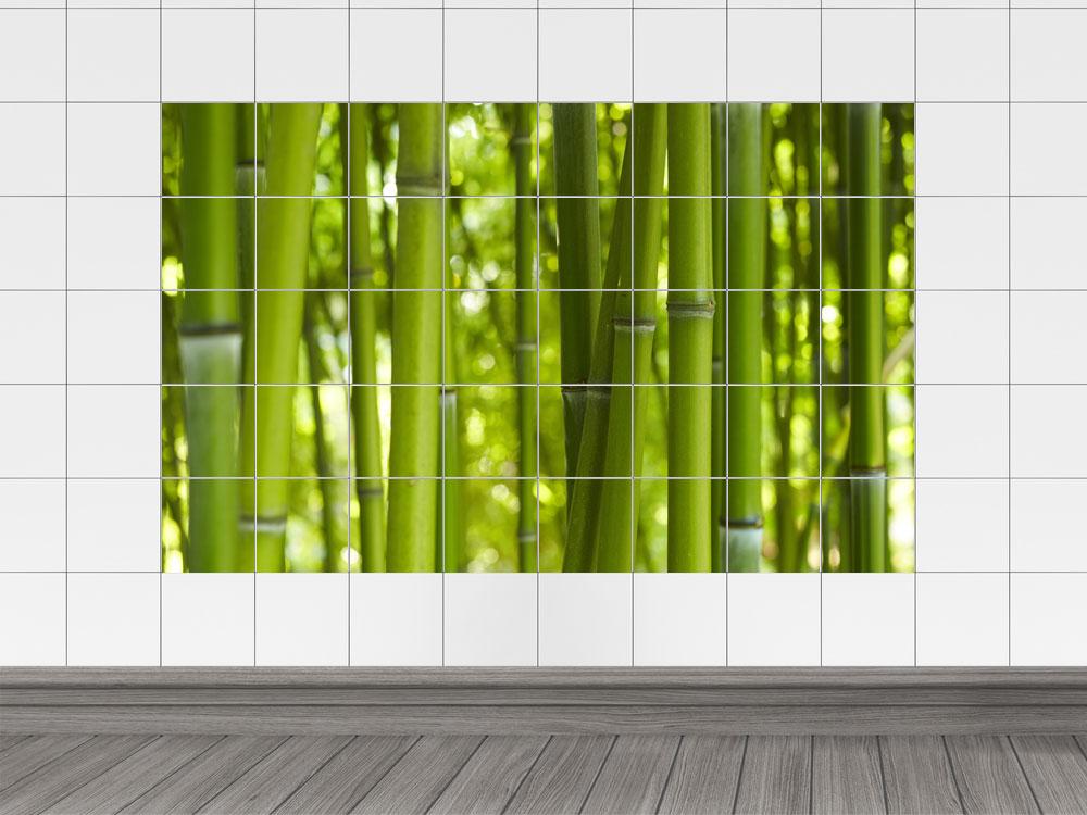 fliesenaufkleber fliesenbild bambus gr n im querformat f r badezimmer ebay. Black Bedroom Furniture Sets. Home Design Ideas