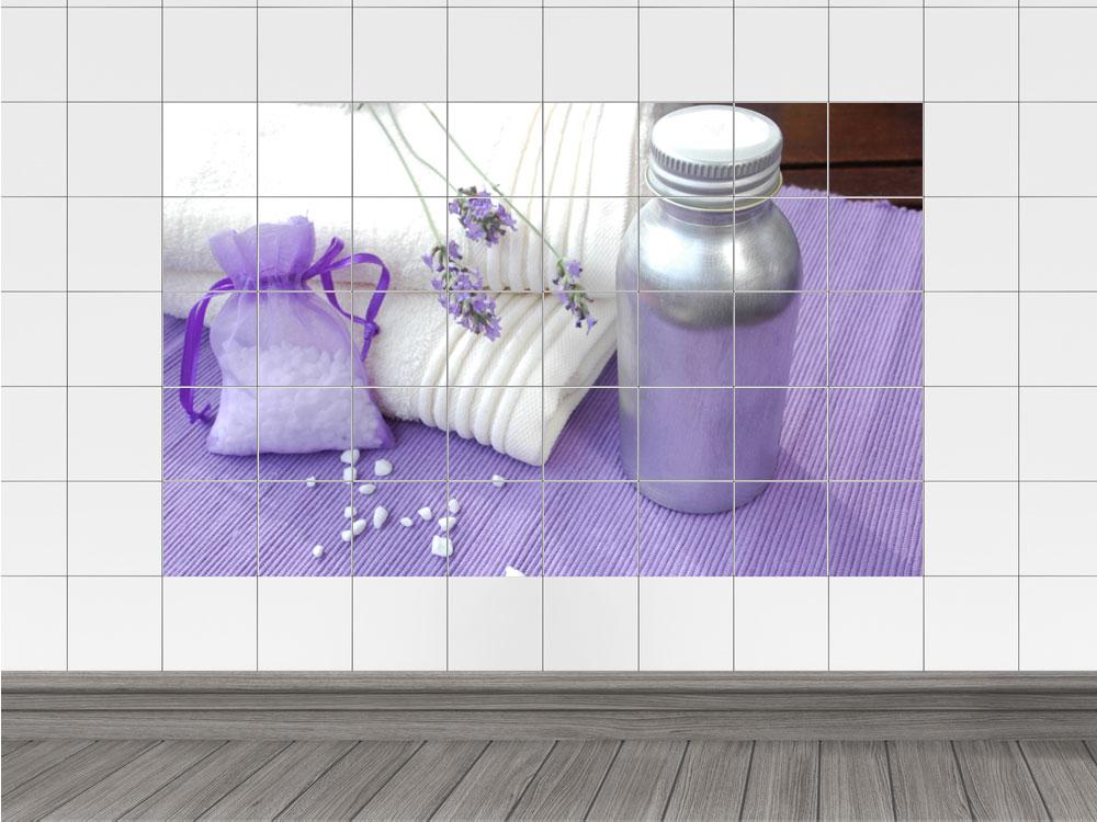 fliesenaufkleber fliesen design fliesensticker k che bad lavendel badeutensilien ebay. Black Bedroom Furniture Sets. Home Design Ideas