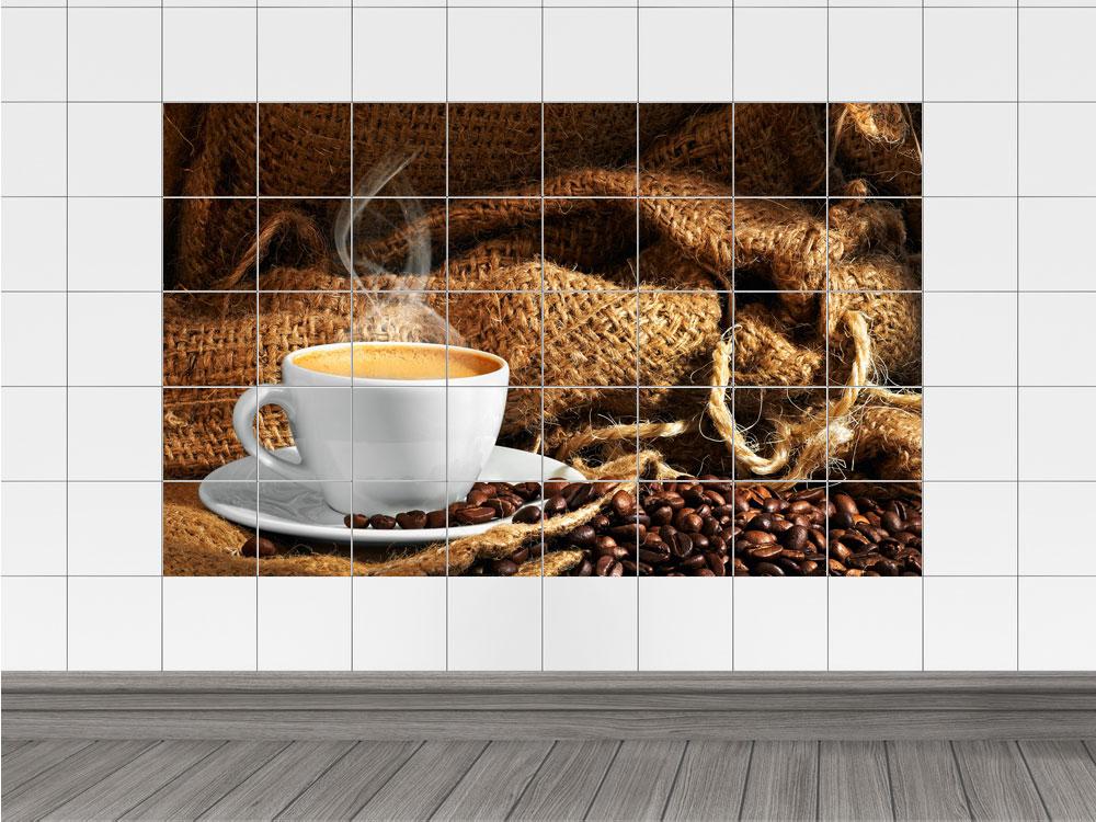 fliesenaufkleber bad k che fliesensticker kaffeebohnen hei er kaffeetasse ebay. Black Bedroom Furniture Sets. Home Design Ideas