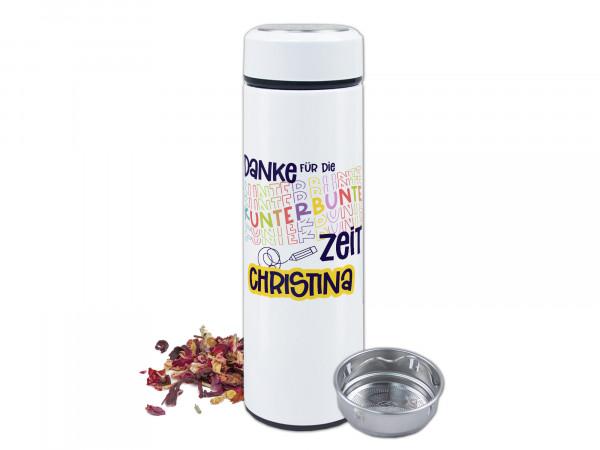 Teeflasche mit Namen personalisiert - Danke für die kunterbunte Zeit