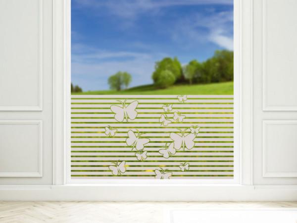 Sichtschutzfolie mit Schmetterlinge und Streifen