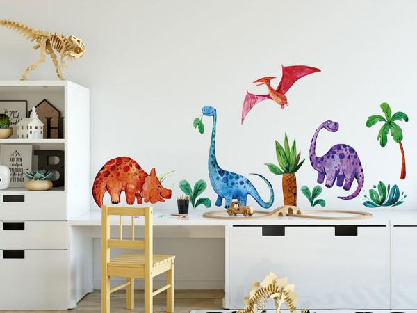 Wandtattoo Dinosaurier mit Urwald