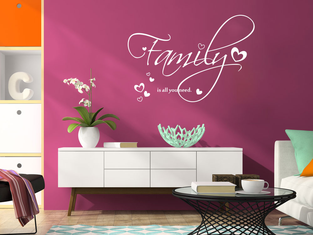 wandtattoo familie f r das wohnzimmer 8 gr en 47 farben. Black Bedroom Furniture Sets. Home Design Ideas