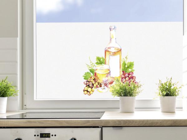 Sichtschutzfolie Küche Wein und Mediterran
