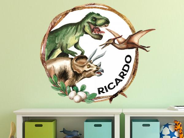 Wandtattoo Dinosaurier personalisiert mit Namen