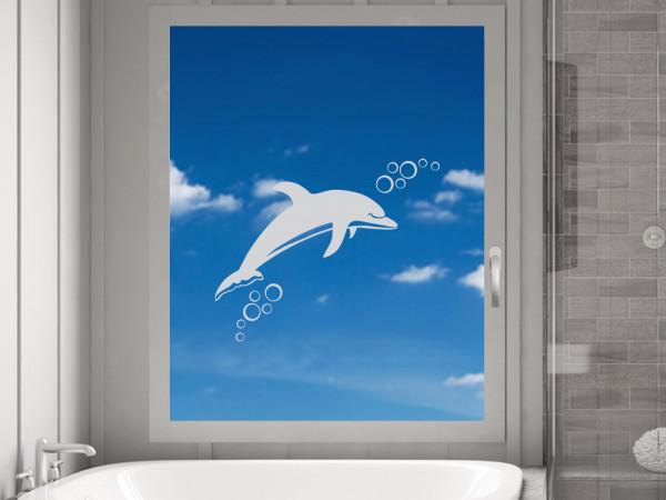 Fensterfolie Bad, Fenstertattoo Delfin Meer maritim