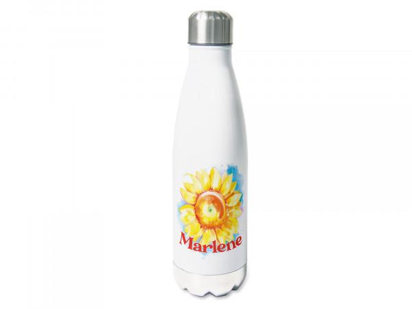 Thermosflasche mit Namen personalisiert, 500ml Trinkflasche, Sonnenblume