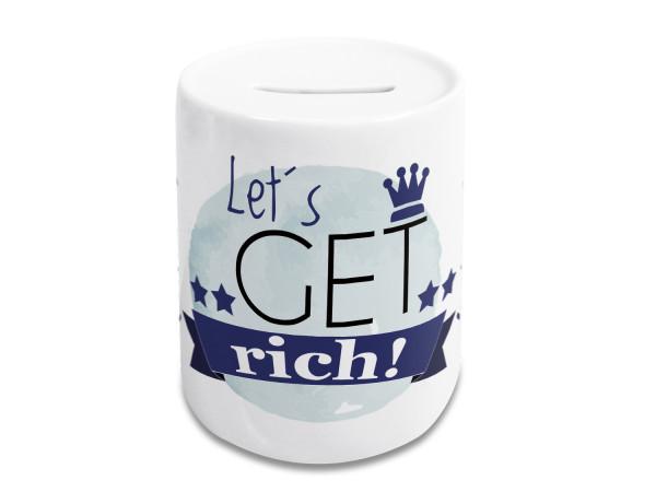 Spardose lustig, Kinder und Erwachsene, Geldgeschenk Sparschwein, Sparbüchse, Motiv Lets get rich