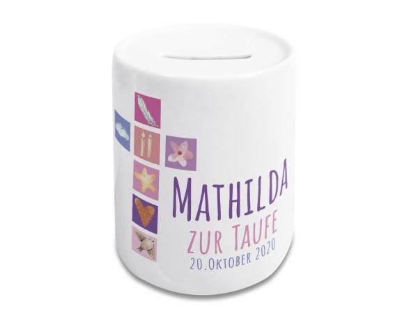 Geschenk zur Taufe - Spardose Personalisiert, Süßer Kreuz in pink
