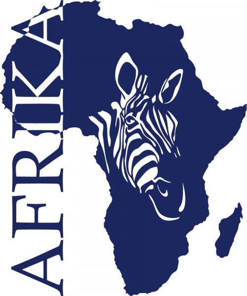 Wandtattoo Kontinent Afrika mit Zebra