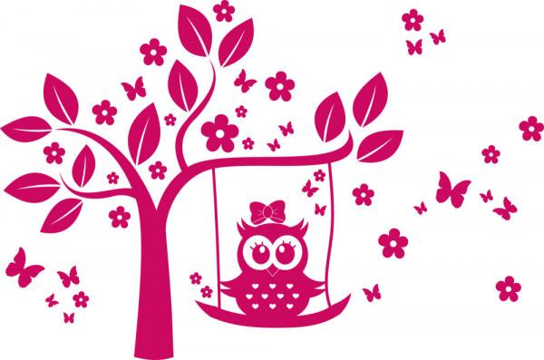 Wandtattoo für Mädchenzimmer Eule Schaukel Baum Blumen