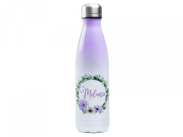 Trinkflasche lila ♥ personalisiert - Eukalyptuskranz