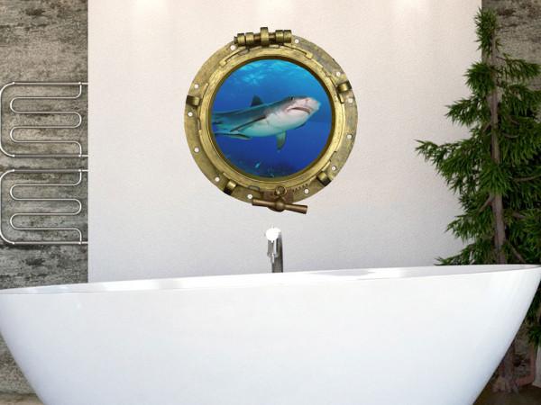 Wandtattoo Bullauge Hai Fische Meer