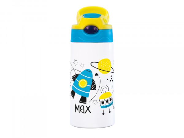 Thermosflasche für Kinder personalisiert - Rakete im Weltall