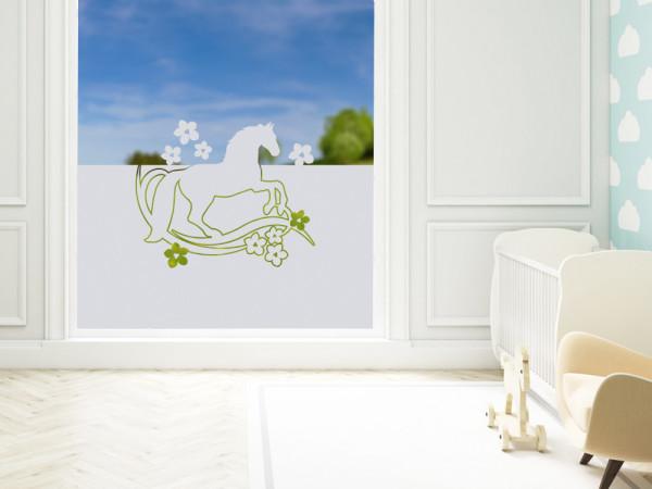 Sichtschutzfolie Pferd Blumen