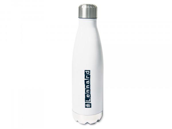 Trinkflasche personalisiert mit Namen mit Hashtag