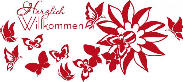 Wandtattoo Wandsticker Deko Aufkleber für Flur Herzlich Willkommen Blume Eingang
