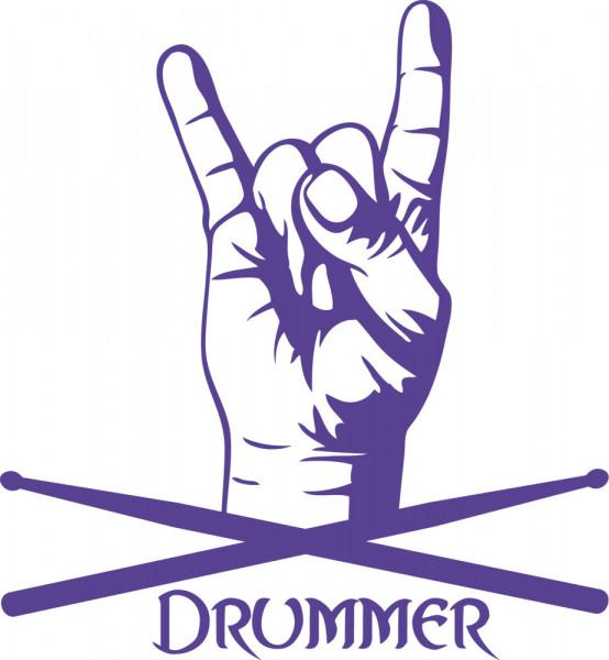 Wandtattoo Musik Schriftzug Drummer mit Rocker Hand und Drummsticks