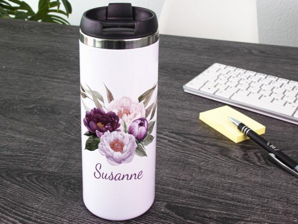 Thermobecher Kaffeebecher Wunschname Blumen, Coffee to go Becher, Geschenk für sie