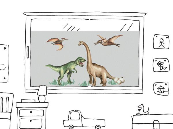 Fensterfolie Kinderzimmer für Jungen, Dinosaurier