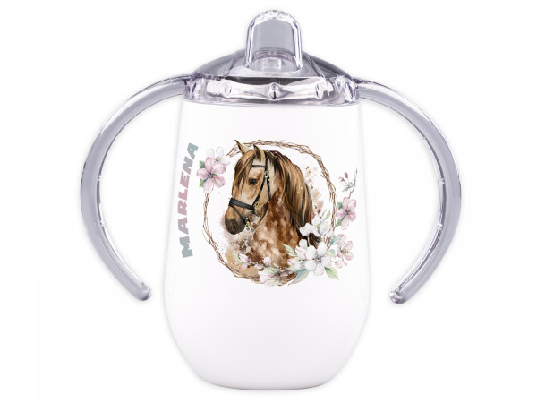 Trinklernbecher mit Griff für Babys personalisiert - Pferd