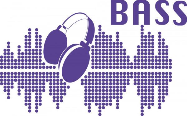 Wandtattoo Bass mit Kopfhörer und Equalizer
