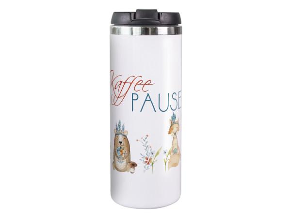 Thermobecher Kaffeebecher Kaffee Pause mit Waldtieren