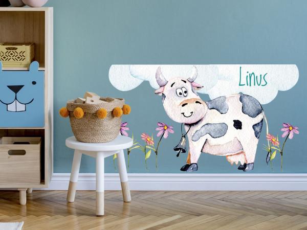 Wandtattoo Name, lustige Kuh, Kinderzimmer