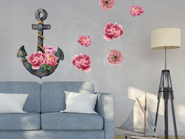 Wandtattoo Anker mit Pfingstrose rot - rosa, Wohnzimmer Schlafzimmer Wanddeko