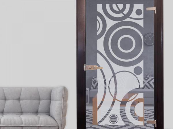 Glastür Aufkleber Fensterfolie für Wohnzimmer Retro Kreise
