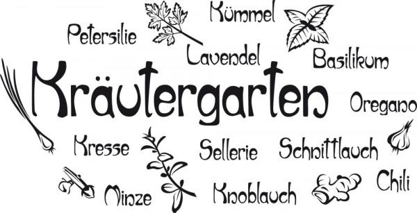 Wandtattoo Kräutergarten Oregano Petersilie Schnittlauch Kresse