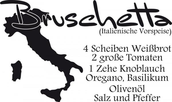 Wandtattoo Bruschetta Rezept mit Zutaten und Landumriss von Italien