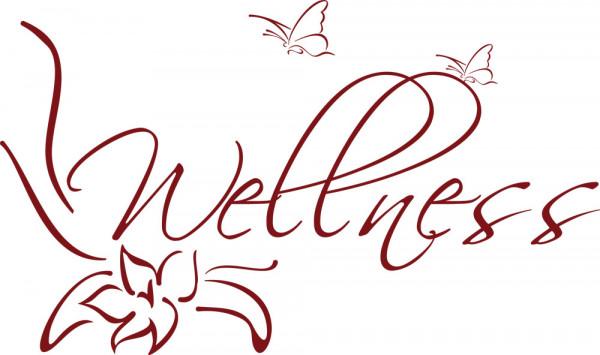 Wandtattoo Badezimmer Raumwort Wellness mit Schmetterlingen und Blume