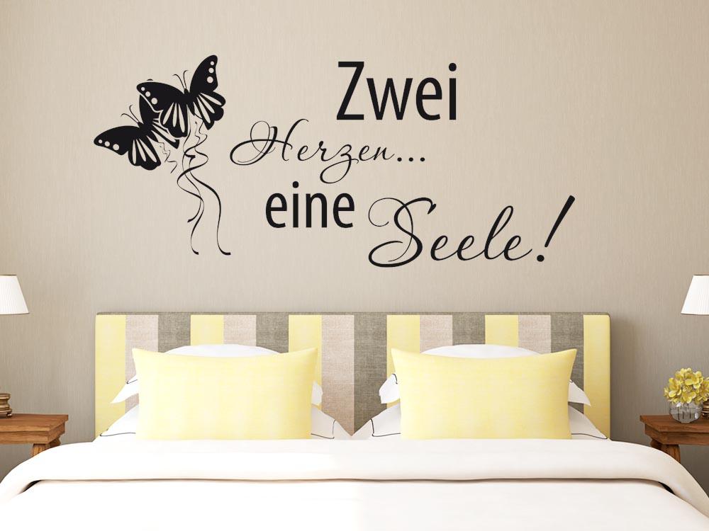 Wandtattoo wandspruche schlafzimmer zwei herzen eine seele for Wandsprüche schlafzimmer