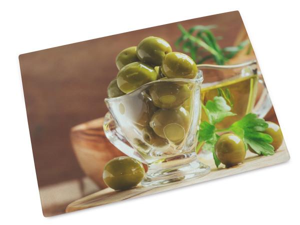 Glas-Schneidebrettchen mit Oliven, Mediterran