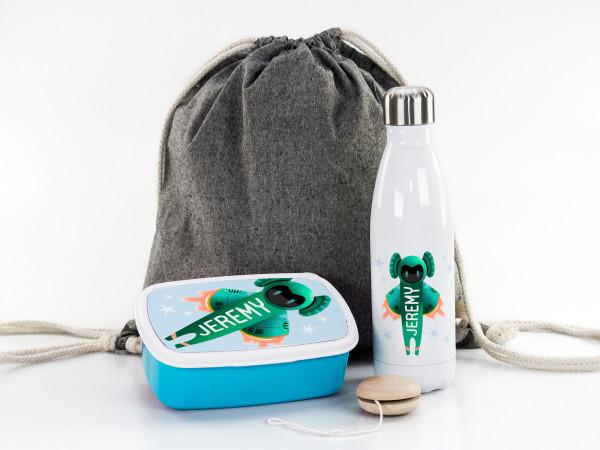 Rakete Geschenkset für Jungen - Sportbeutel, Brotdose, Trinkflasche personalisiert