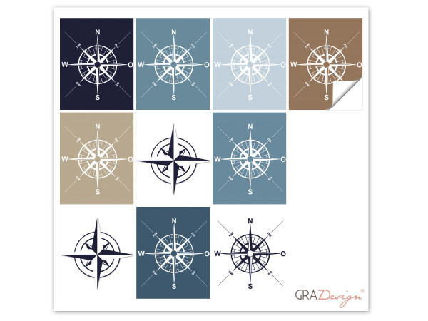 Fliesenaufkleber Bad Kompass Maritim Blau Braun Weiß