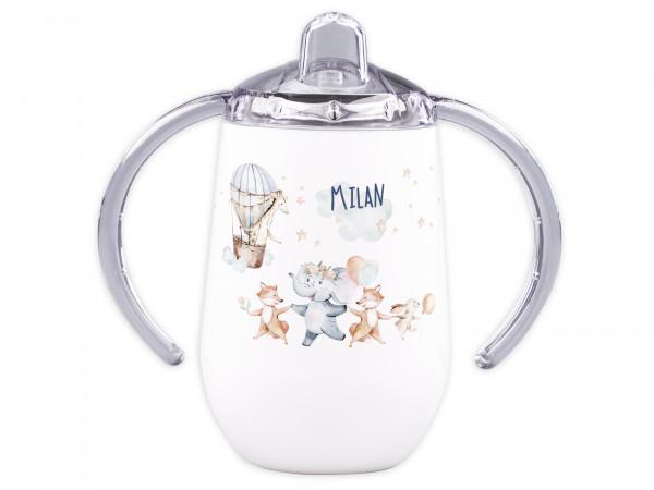 Trinklernbecher mit Griff für Babys personalisiert - Tiere mit Heißluftballon