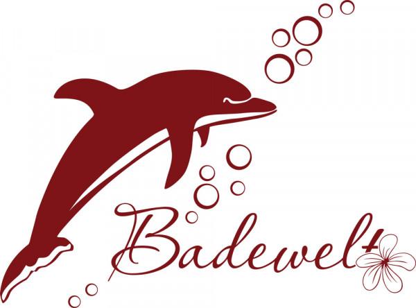 Wandtattoo Badezimmer Schriftzug Badewelt mit Delfin Blume und Blasen