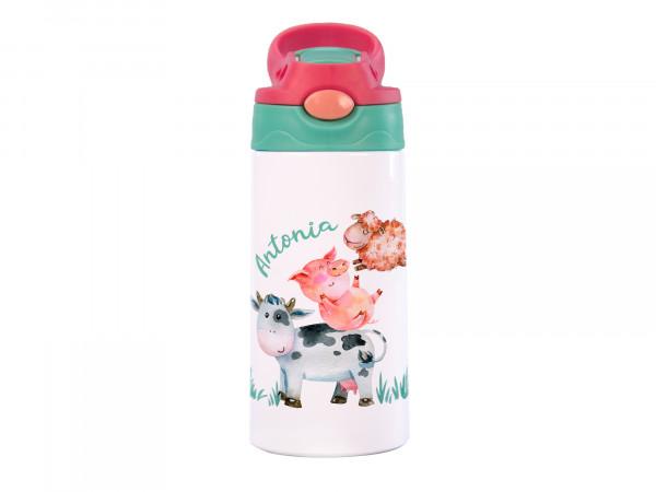 Thermo-Trinkflasche Mädchen mit Wunschname, Bauernhoftiere