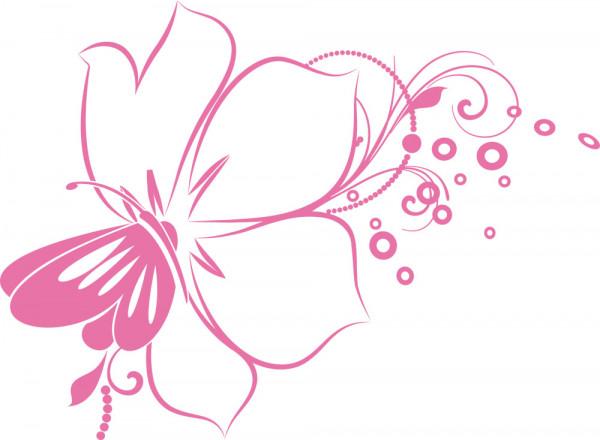 Wandtattoo Schmetterling auf Blume Retro