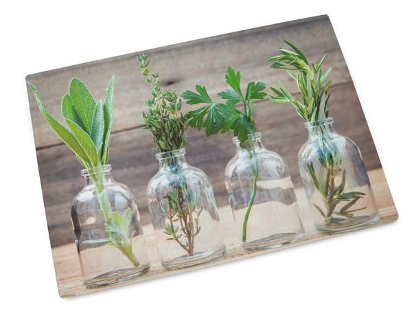 Glas-Schneidebrettchen Motiv Kräuter im Glas