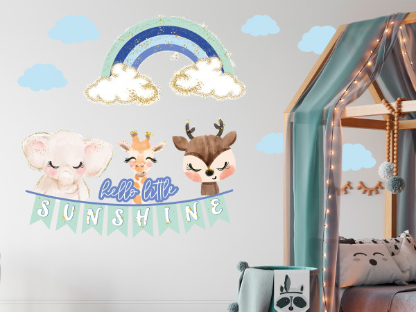 Wandtattoo für Kinderzimmer, Tiere im Himmel mit Regenbogen