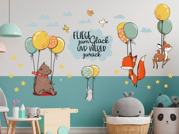 Wandtattoo Kinderzimmer, Waldtiere mit Luftballons und Spruch