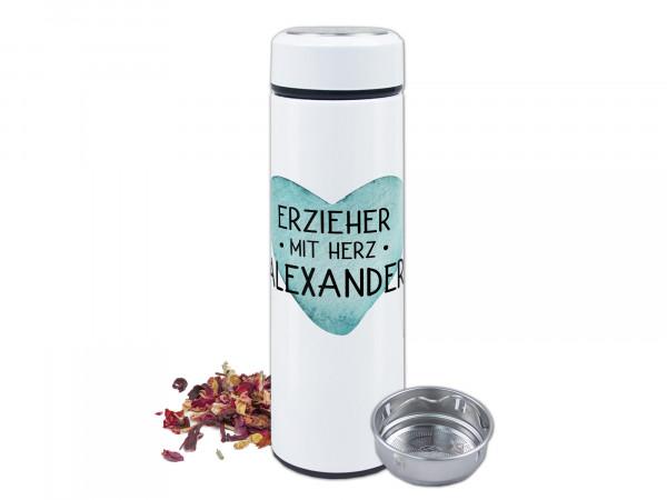 Teeflasche mit Namen personalisiert - Erzieher mit Herz