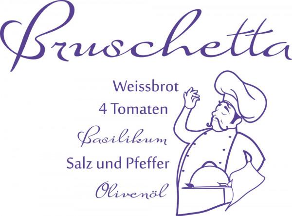 Wandtattoo Rezepte für Küche Bruschetta Koch Italienisch