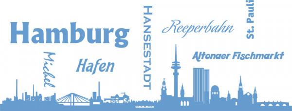 Wandtattoo Skyline Hamburg Reeperbahn Hansestadt Fischmarkt St. Pauli