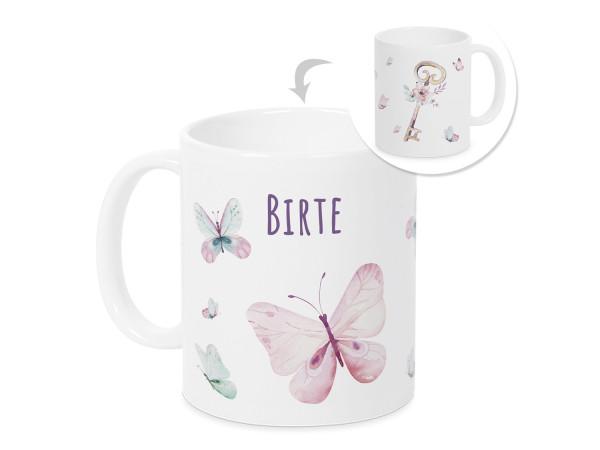 Tasse mit Namen Kinder, personalisiertes Geschenk Weihnachten Geburtstag, als Geschenkidee, Becher, Schmetterling