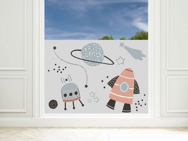 Sichtschutzfolie Kinderzimmer Rakete Weltall, Fensterfolie