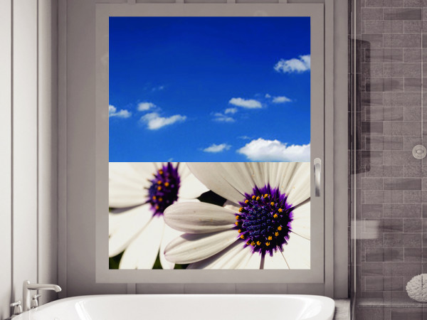 Sichtschutzfolie Blumen für Badezimmer